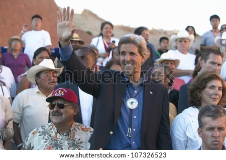 AUGUST 2004 - Senator John Kerry waving in audience of 83rd Intertribal Indian Ceremony, Gallup, NM