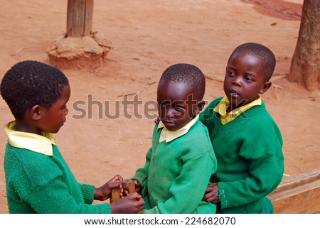 August 2014 - Village of Pomerini - Tanzania - Africa - The African children in kindergarten built by the Franciscan Mission NPO Mawaki to give instruction and education to all children - stock photo