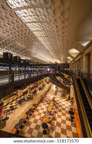 August 3, 2014: Washington, DC, USA interior view of Union Station at night.