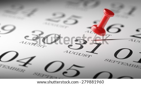 August 31 written on a calendar to remind you an important appointment.