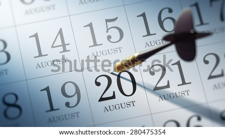 August 20 written on a calendar to remind you an important appointment.