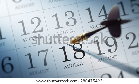 August 18 written on a calendar to remind you an important appointment.