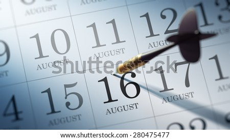 August 16 written on a calendar to remind you an important appointment.