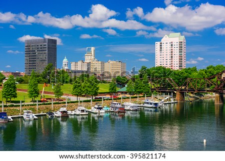 Augusta, Georgia, USA downtown skyline on the Savannah River. - stock photo