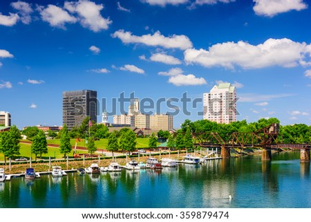 Augusta, Georgia, USA on the Savannah River. - stock photo