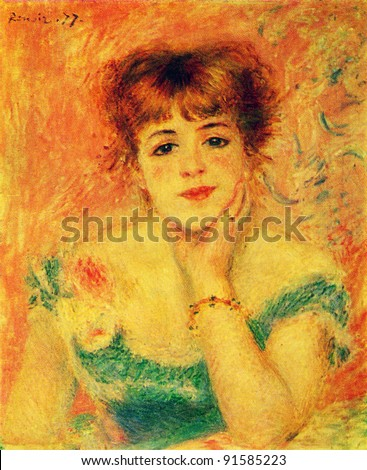 Auguste Renoir (1841 - 1919) Portrait of the Actress Jeanne Samary. Study. 1877. Pushkin Museum of Fine Arts. Reproduction of old postcards, USSR, circa 1983