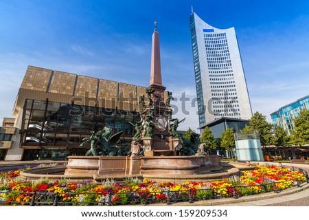 Augustusplatz, City of Leipzig, Saxony, Germany - stock photo