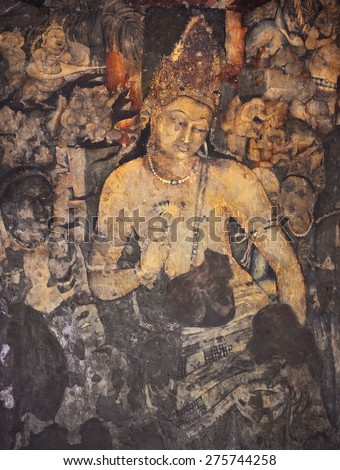 Ajanta caves stock images royalty free images vectors for Ajanta mural painting