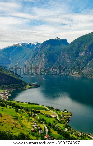 Aurland town and Aurlandsfjord on summer day, Norway
