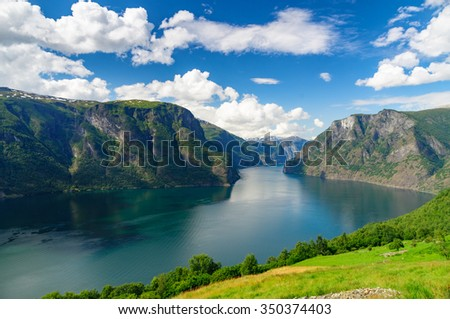 Aurlandsfjord (part of Sognefjord) against scenic blue sky, Norway