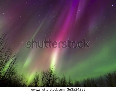Aurora Borealis caused by heavy geomagnetic storm, Vilna, AB, Canada