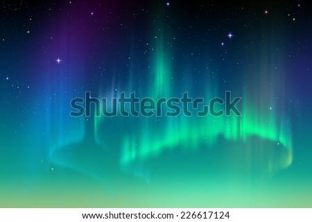 Aurora Borealis illustration, northern lights in starry sky, natural phenomenon - stock photo
