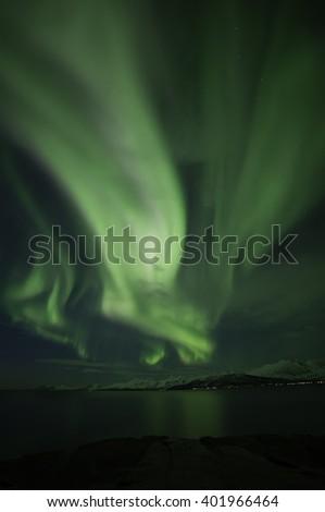 Aurora borealis.Northern light. Northern Norway.Troms. - stock photo