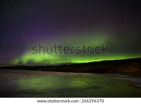 Aurora Borealis Northern Lights Saskatchewan Lake - stock photo