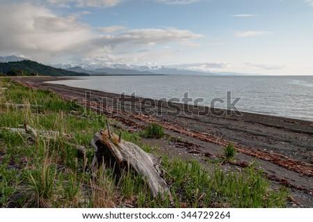 Aurora Spit on Kachemak Bay in Alaska - stock photo