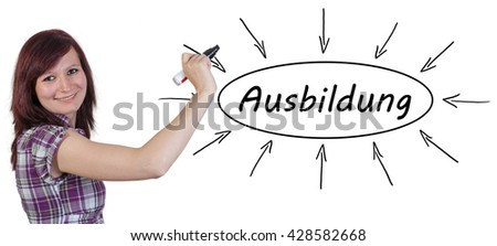 Ausbildung - german word for education or training - young businesswoman drawing information concept on whiteboard.  - stock photo