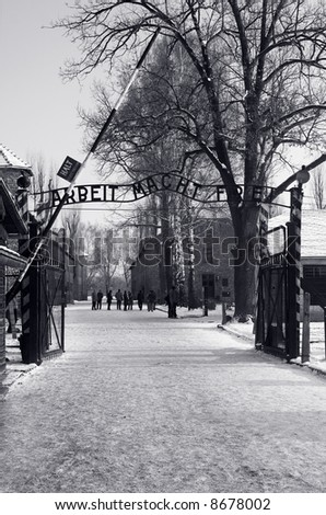 Auschwitz concentration camp (main entrance). The largest concentration camp in the world - stock photo