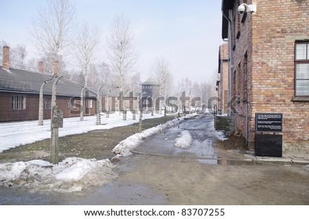 Auschwitz, death camp in Poland - stock photo