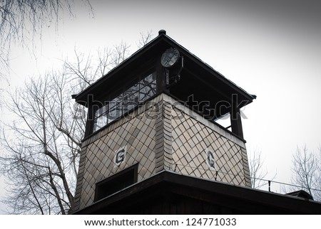 Auschwitz in Winter Fog Look-out Tower