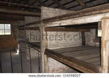 AUSCHWITZ, POLAND - AUGUST 24: Indoor accommodation of the infamous Auschwitz I, a former Nazi extermination camp and now a museum on August 24, 2013 in Oswiecim, Poland