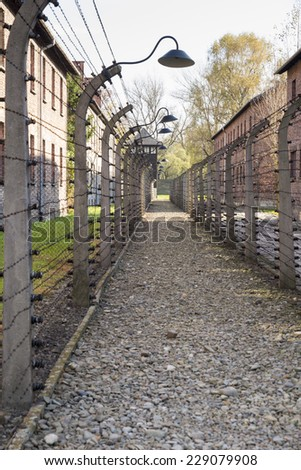AUSCHWITZ, POLAND - OCTOBER 25, 2014: Barbed wire in the Konzentrationslager Auschwitz was the largest of the German Nazi concentration and extermination camps. Located in southern Poland