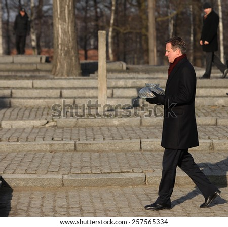 AUSCWITZ, POLAND - DECEMBER 10, 2014: British Prime Minister David Cameron during the visit in the Nazi concentration camp Auschwitz -- Birkenau. Poland - stock photo