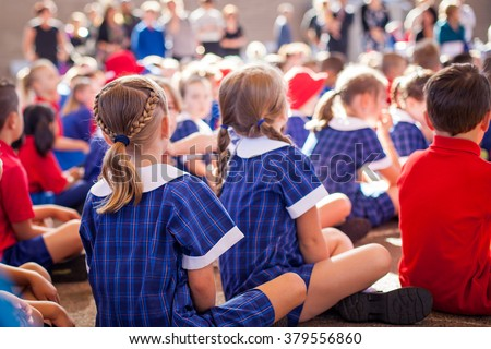Aussie kids at assembly - stock photo