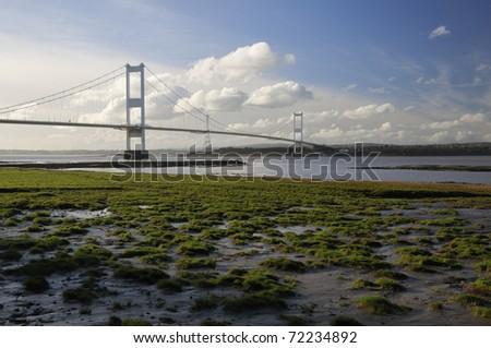 Aust Rock & The Severn Bridge - stock photo