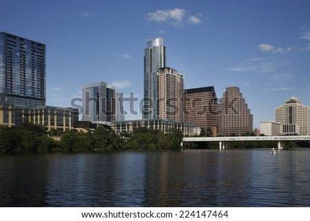 Austin is the capital of Texas and is located in Central Texas and the American Southwest, it is the 11th-most populous city in the United States.   - stock photo
