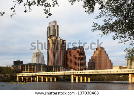 AUSTIN-MARCH 27: A View of the Skyline Austin at Sunset on March 27, 2013 Austin, Texas. Austin is the capital of the U.S. state of Texas and the 13th most populous city in the USA. - stock photo