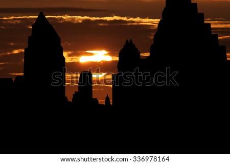 Austin skyline at sunset illustration - stock photo