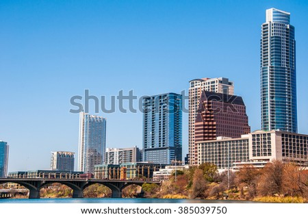 Austin Texas Downtown Capital City Skyline Cityscape Clear View of Colorful Capital Texas Central hill Country Town
