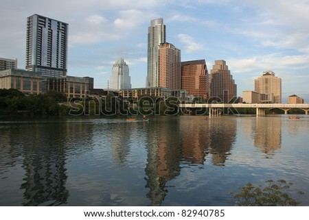 Austin, Texas downtown skyline across river