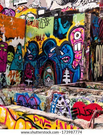 AUSTIN, TEXAS - JANUARY 6: Graffiti at the Hope Outdoor Gallery, or Graffiti Park, on January 6, 2014 in Austin, Texas