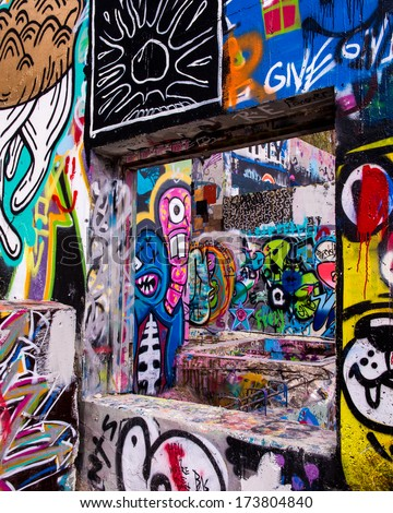 AUSTIN, TEXAS - JANUARY 6, 2014: Hope Outdoor Gallery, or Graffiti Park, on January 6, 2014 in Austin, Texas