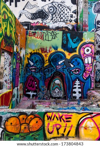 AUSTIN, TEXAS - JANUARY 6: Hope Outdoor Gallery, or Graffiti Park, on January 6, 2014 in Austin, Texas