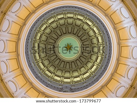 AUSTIN, TEXAS - JANUARY 5: Interior dome from the rotunda floor  the Texas State Capitol building on January 5, 2014 in Austin, Texas