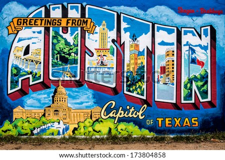 AUSTIN, TEXAS - JANUARY 6: Mural on the wall of the Roadhouse Relics store at on First Street on January 6, 2014 in Austin, Texas - stock photo