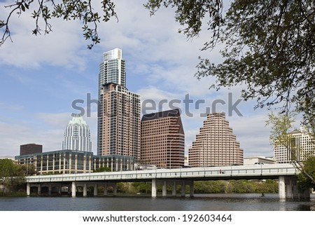 AUSTIN, TEXAS - MARCH 27, 2013: A View of the Skyline Austin, Texas. Austin is the capital of the U.S. state of Texas and the 13th most populous city in the USA. - stock photo