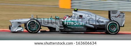 AUSTIN, TEXAS - NOVEMBER 16.  Sebastian Vettel of Infiniti Red Bull Racing in the Formula One Qualifying Session at the Circuit of The America's race track on November 16, 2013 in Austin, Texas. - stock photo
