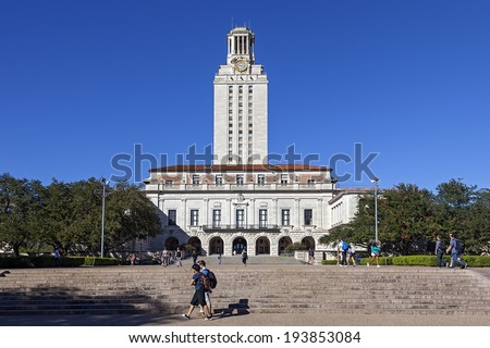 AUSTIN, TEXAS - OCTOBER 23, 2013: University of Texas at Austin Main Tower Building. - stock photo