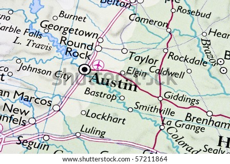Austin ,Texas on a map - stock photo