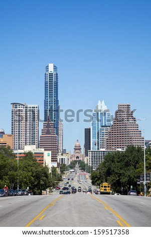 AUSTIN, TEXAS -SEPTEMBER 30: A View of the Skyline Austin on September 30, 2013 Austin, Texas. Austin is the capital of the U.S. state of Texas and the 13th most populous city in the USA. - stock photo