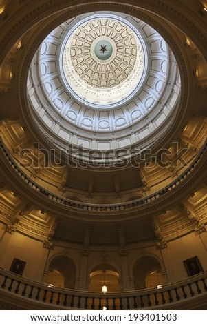 AUSTIN, TEXAS - SEPTEMBER 30, 2013: Interior of The Texas State Capitol�s Rotunda Ceiling in Austin, Texas.