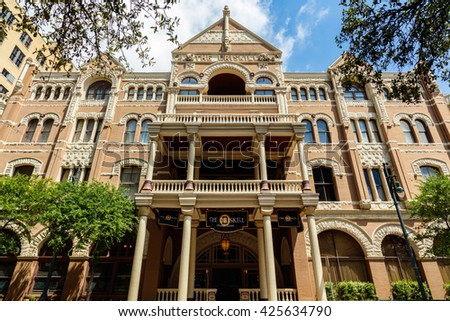 Austin, Texas USA - April 14, 2016: The historic Driskill Hotel built in 1886 and located on Brazos Street in downtown is a popular tourist destination.