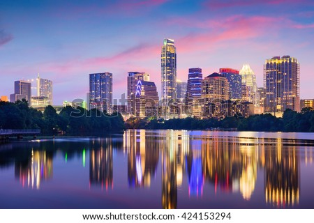 Austin, Texas, USA downtown skyline on the Colorado River. - stock photo