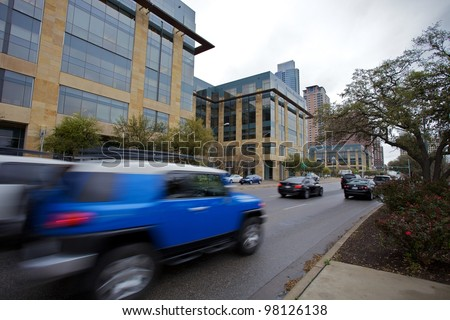 AUSTIN, TX - MAR 9: SXSW Interactive Conference on March 9, 2012 in Austin. Downtown traffic - stock photo