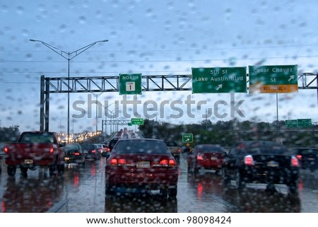 AUSTIN, TX - MAR 9: SXSW Interactive Conference on March 9, 2012 in Austin. Traffic on Mopac - stock photo