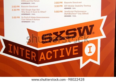 AUSTIN, TX - MAR 12: SXSWi 2012. SXSW Interactive Conference on March 12, 2012 in Austin, Texas. Schedule is displayed throughout the convention center. - stock photo