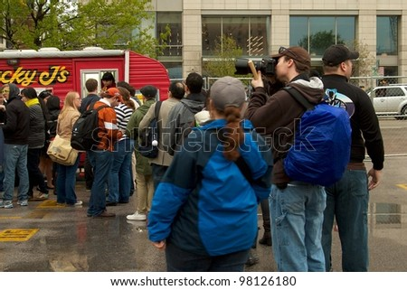 Austin, TX - March 10: SXSW Interactive Conference in Austin.   Austin has plenty of interesting food vendors and restaurants. - stock photo